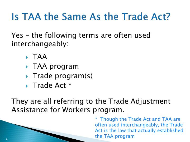 Is TAA the Same As the Trade Act?