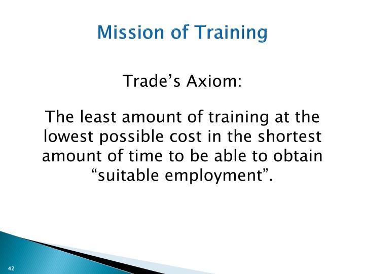 Mission of Training