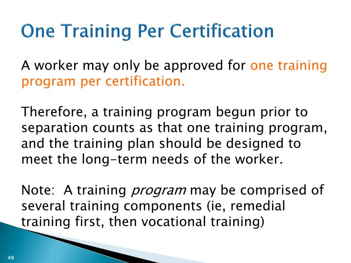 One Training Per Certification