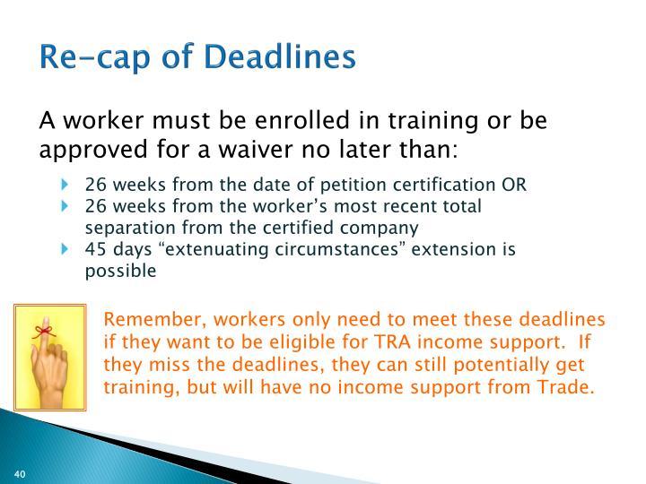 Re-cap of Deadlines