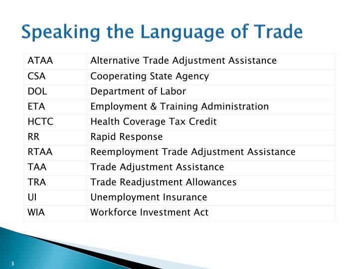 Speaking the language of trade
