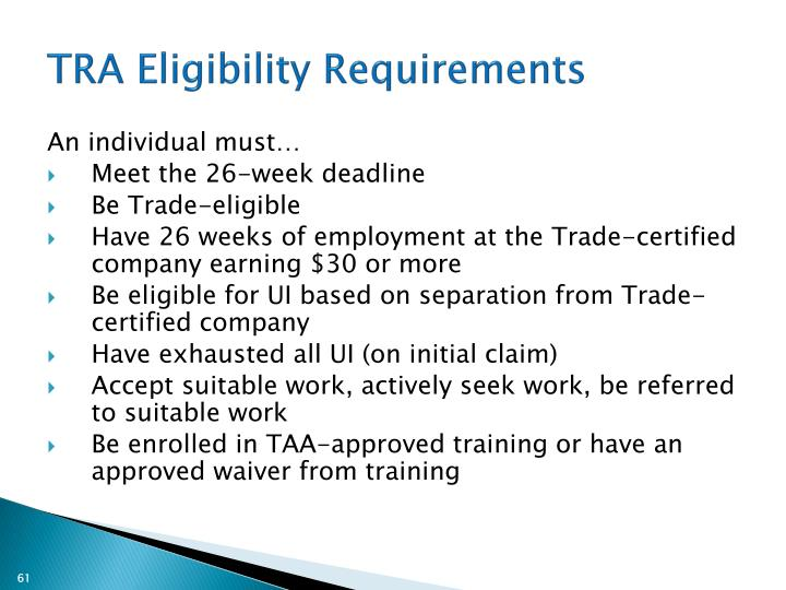 TRA Eligibility Requirements