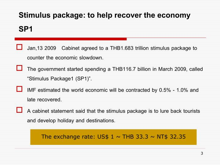 Stimulus package to help recover the economy sp1