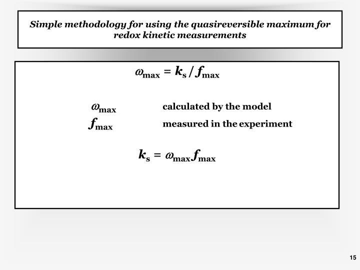 Simple methodology for using the quasireversible maximum for redox kinetic measurements