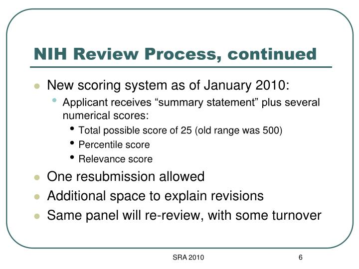 NIH Review Process, continued