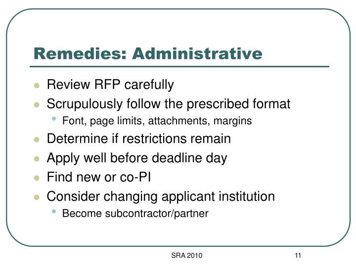 Remedies: Administrative