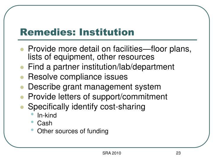Remedies: Institution
