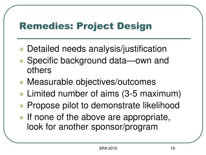 Remedies: Project Design