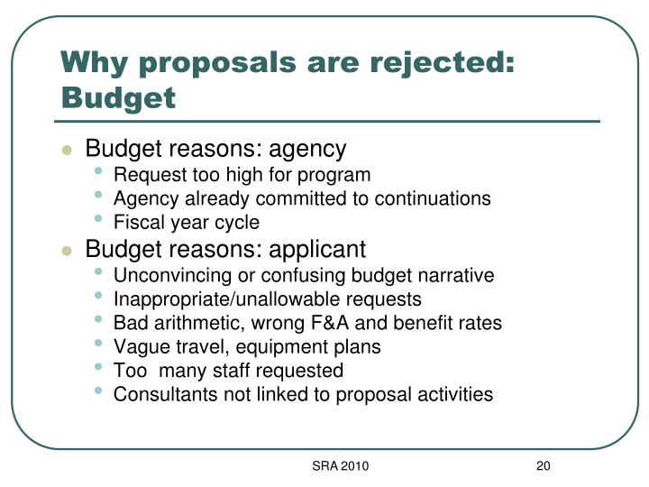 Why proposals are rejected: Budget
