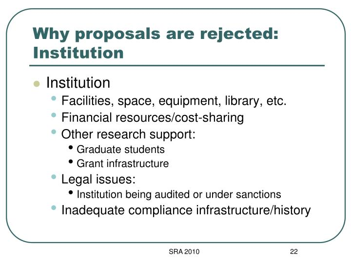 Why proposals are rejected: Institution