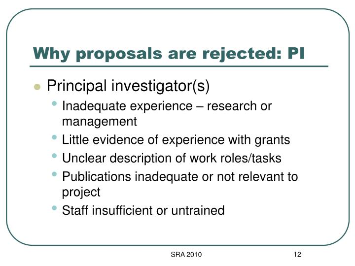 Why proposals are rejected: PI