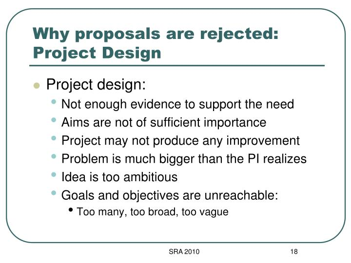 Why proposals are rejected: Project Design