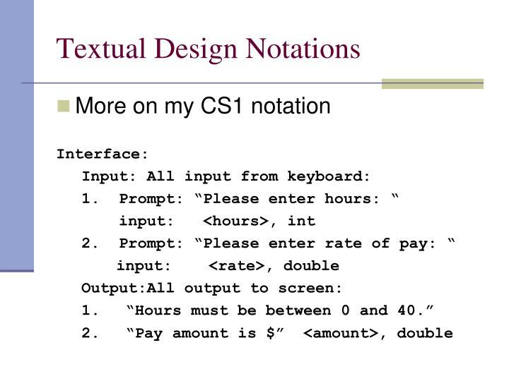 Textual Design Notations