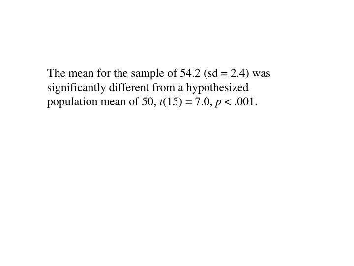 The mean for the sample of 54.2 (sd = 2.4) was significantly different from a hypothesized population mean of 50,