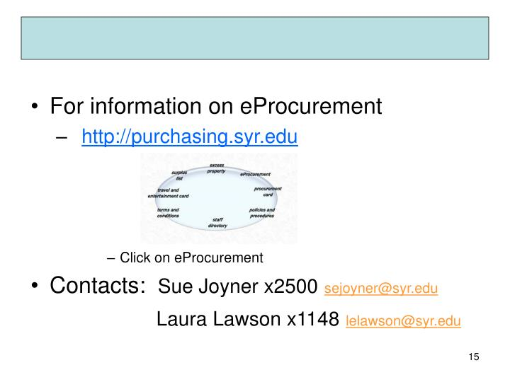 For information on eProcurement