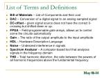 list of terms and definitions