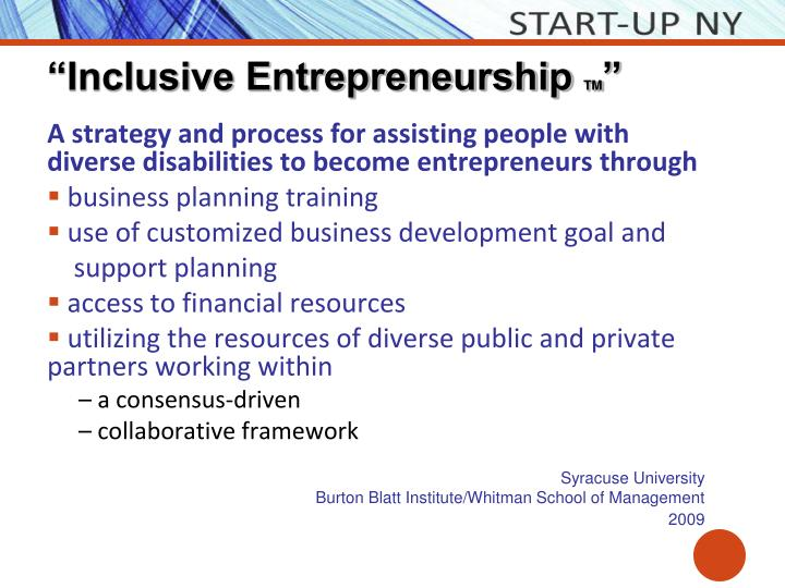 """Inclusive Entrepreneurship"