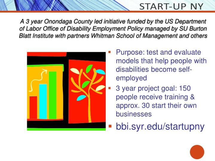A 3 year Onondaga County led initiative funded by the US Department of Labor Office of Disability Employment Policy managed by SU Burton