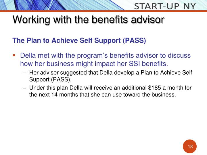 Working with the benefits advisor