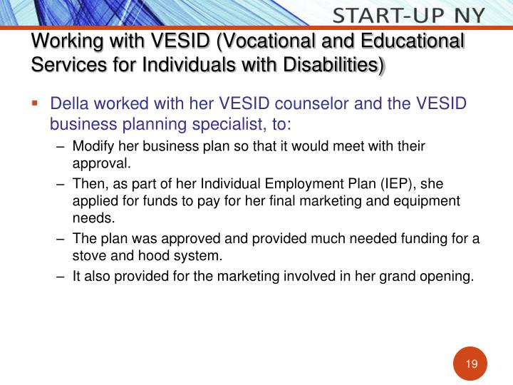 Working with VESID (Vocational and Educational Services for Individuals with Disabilities)