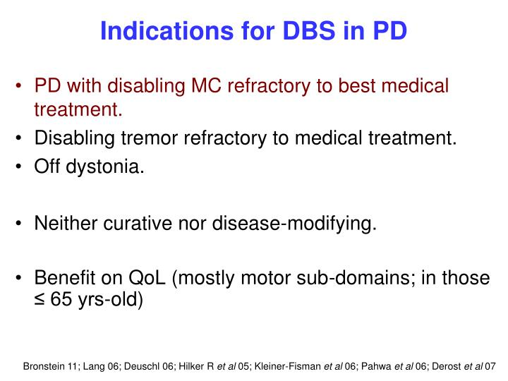 Indications for DBS in PD
