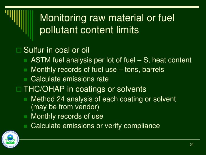 Monitoring raw material or fuel pollutant content limits