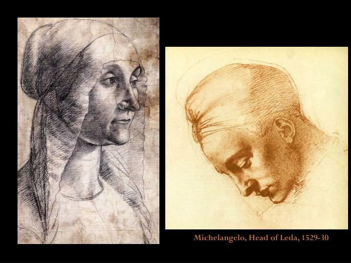 Michelangelo, Head of Leda, 1529-30