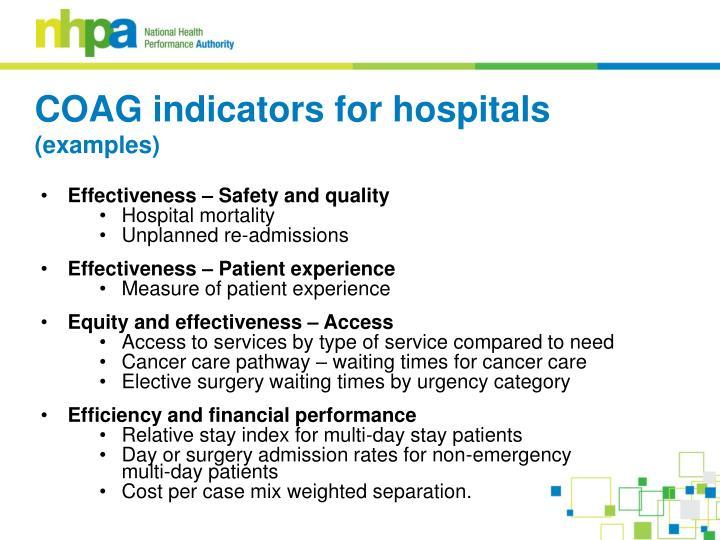 COAG indicators for hospitals