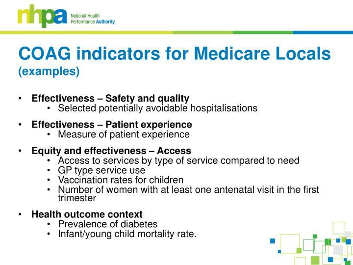 COAG indicators for Medicare Locals