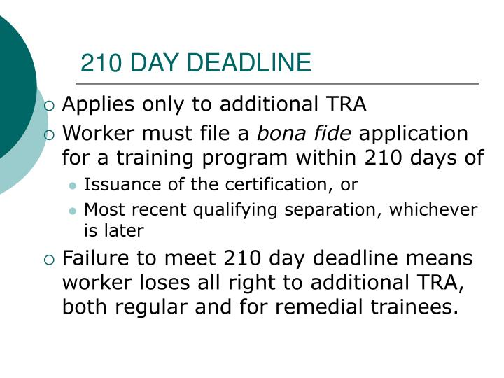 210 DAY DEADLINE