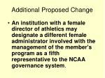 additional proposed change