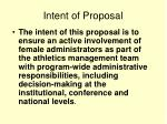 intent of proposal