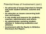 potential areas of involvement cont