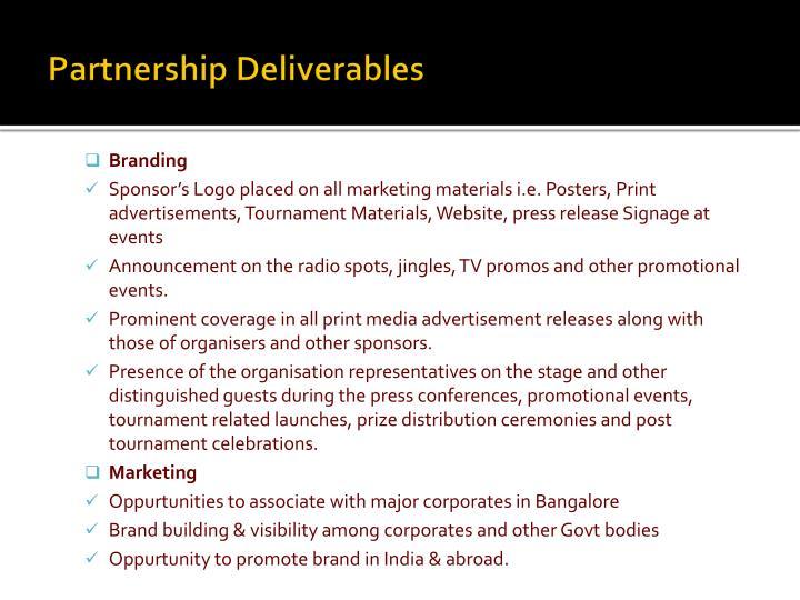 Partnership Deliverables