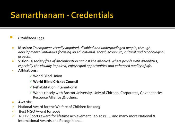 Samarthanam credentials