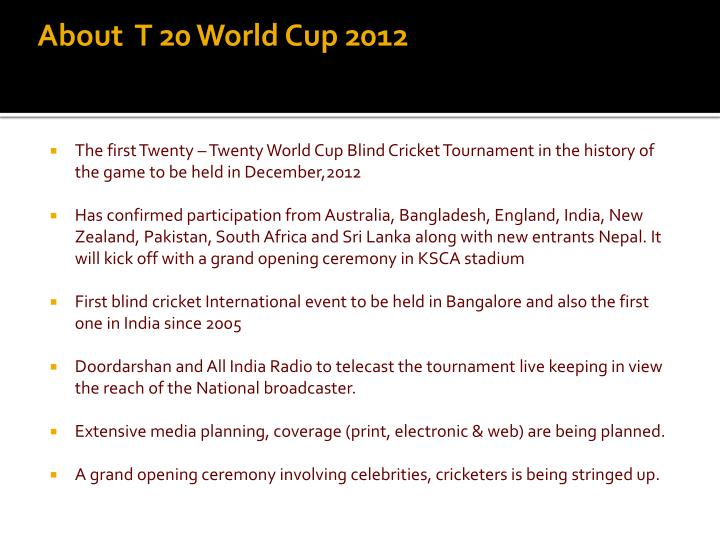 About  T 20 World Cup 2012