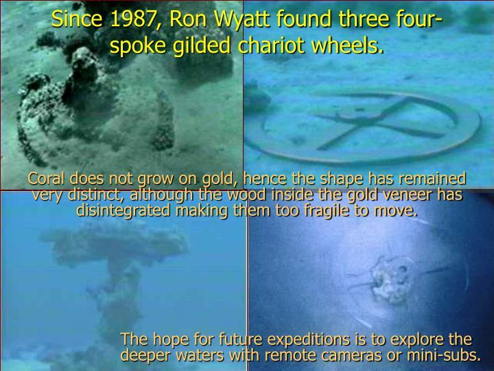 Since 1987, Ron Wyatt found three four-spoke gilded chariot wheels.