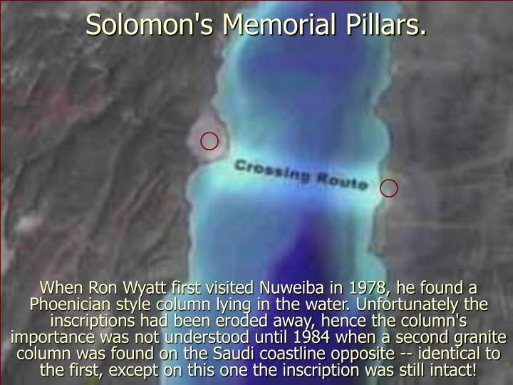 Solomon's Memorial Pillars.