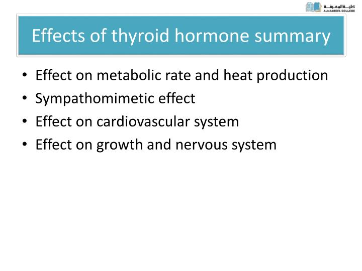 Effects of thyroid hormone summary