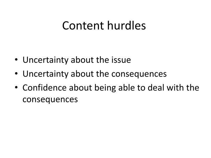 Content hurdles