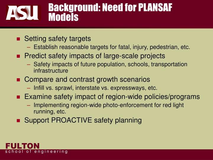 Background: Need for PLANSAF Models