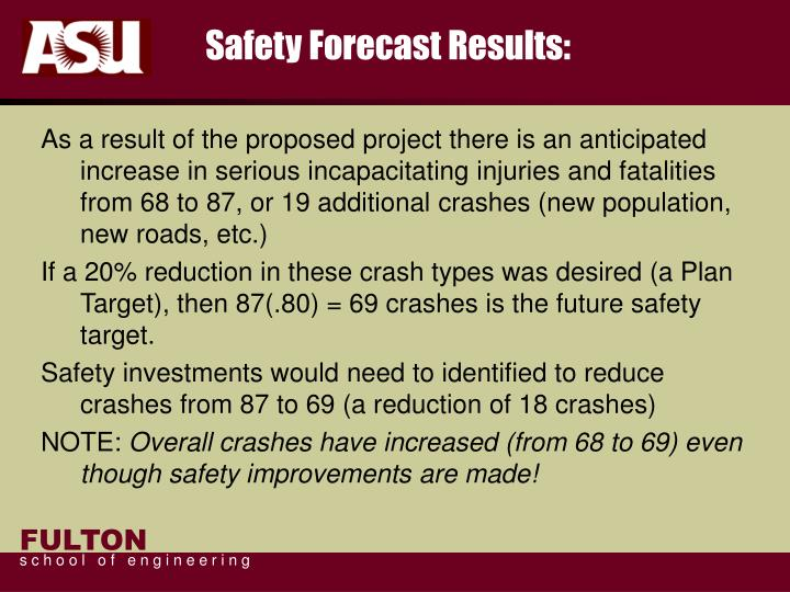 Safety Forecast Results: