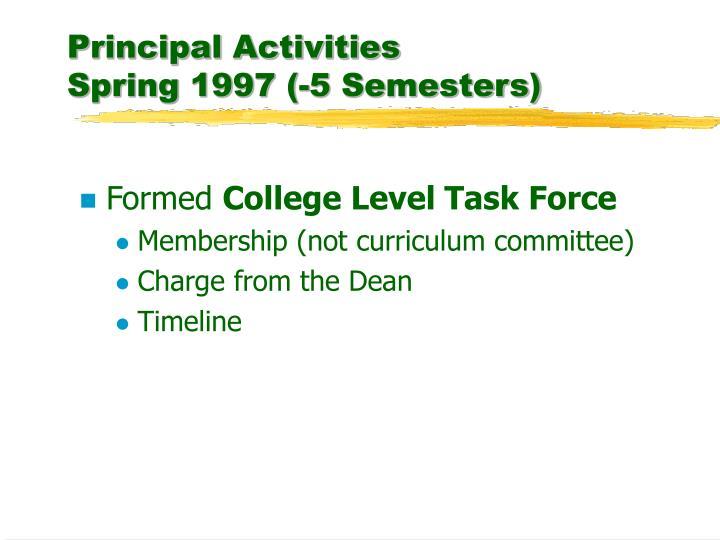 Principal activities spring 1997 5 semesters