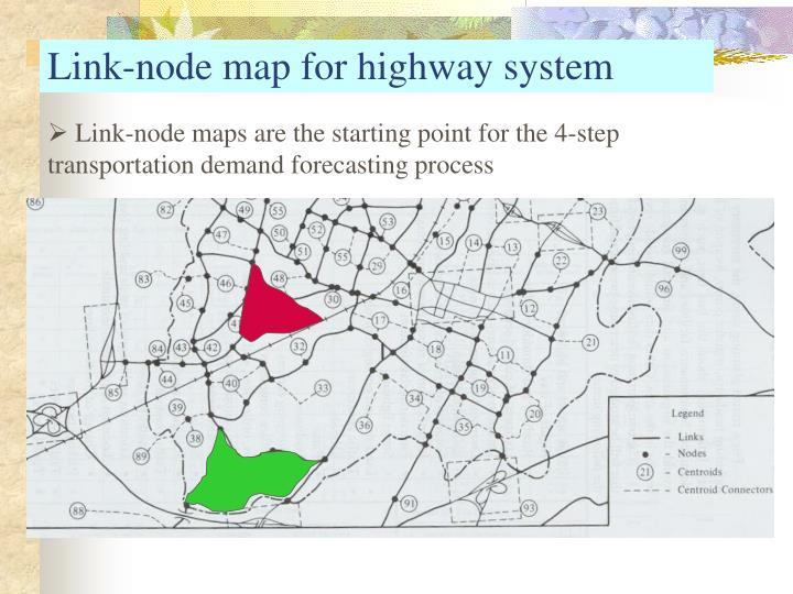Link-node map for highway system