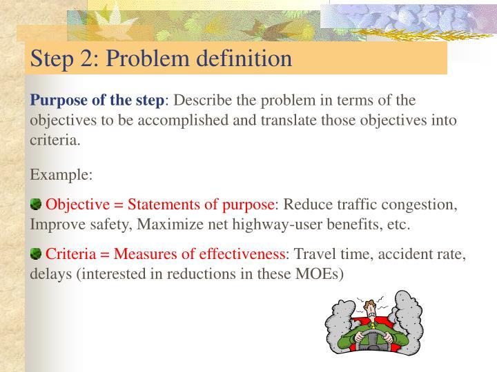 Step 2: Problem definition