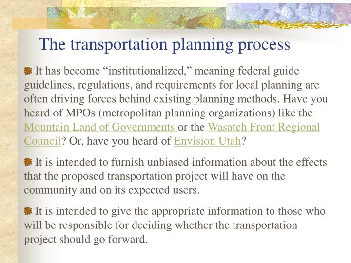 The transportation planning process