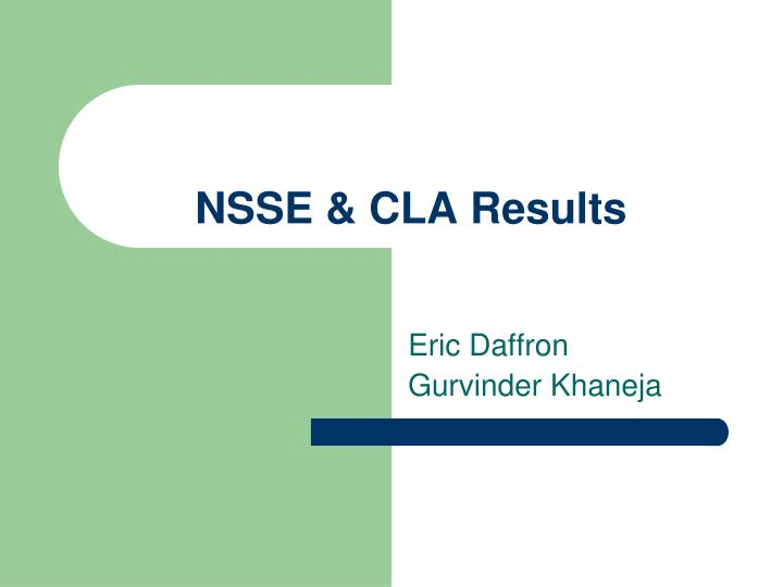 NSSE & CLA Results