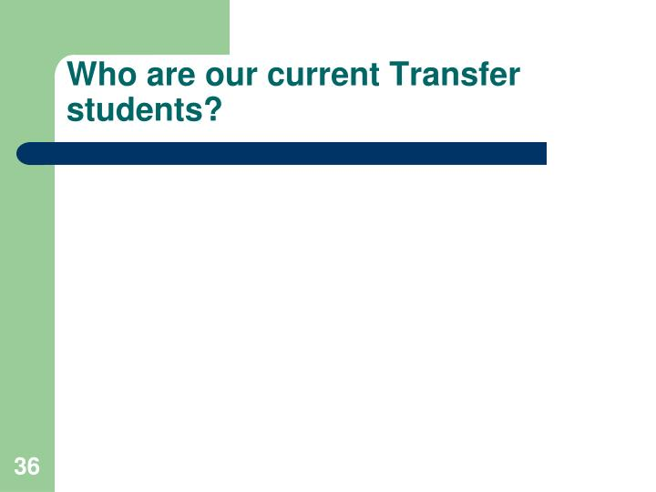 Who are our current Transfer students?