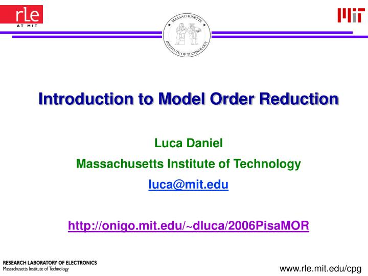 introduction to model order reduction n.