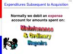 expenditures subsequent to acquisition1